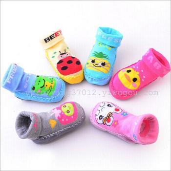 Children's socks winter baby anti-skid floor socks pigskin bottom socks thickening Terry indoor size