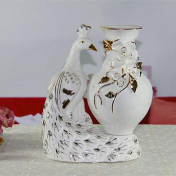 Creative modern home decorating crafts living room accessories fashion Gold Diamond ceramic vase of Peacock ornaments