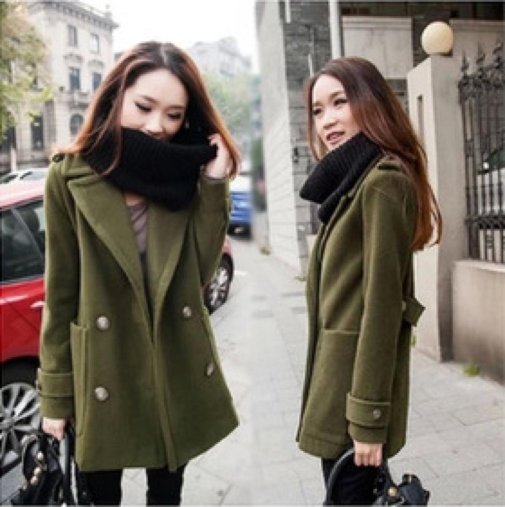 2014秋冬新款欧美大码外套女羊绒中长款呢子大衣
