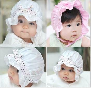 新款蝴蝶结宫廷帽 韩版婴儿帽 童帽 夏季可爱宝宝绸缎