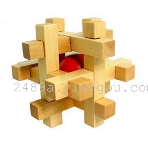 木色笼中取球 益智 智力玩具 孔明锁 鲁班锁