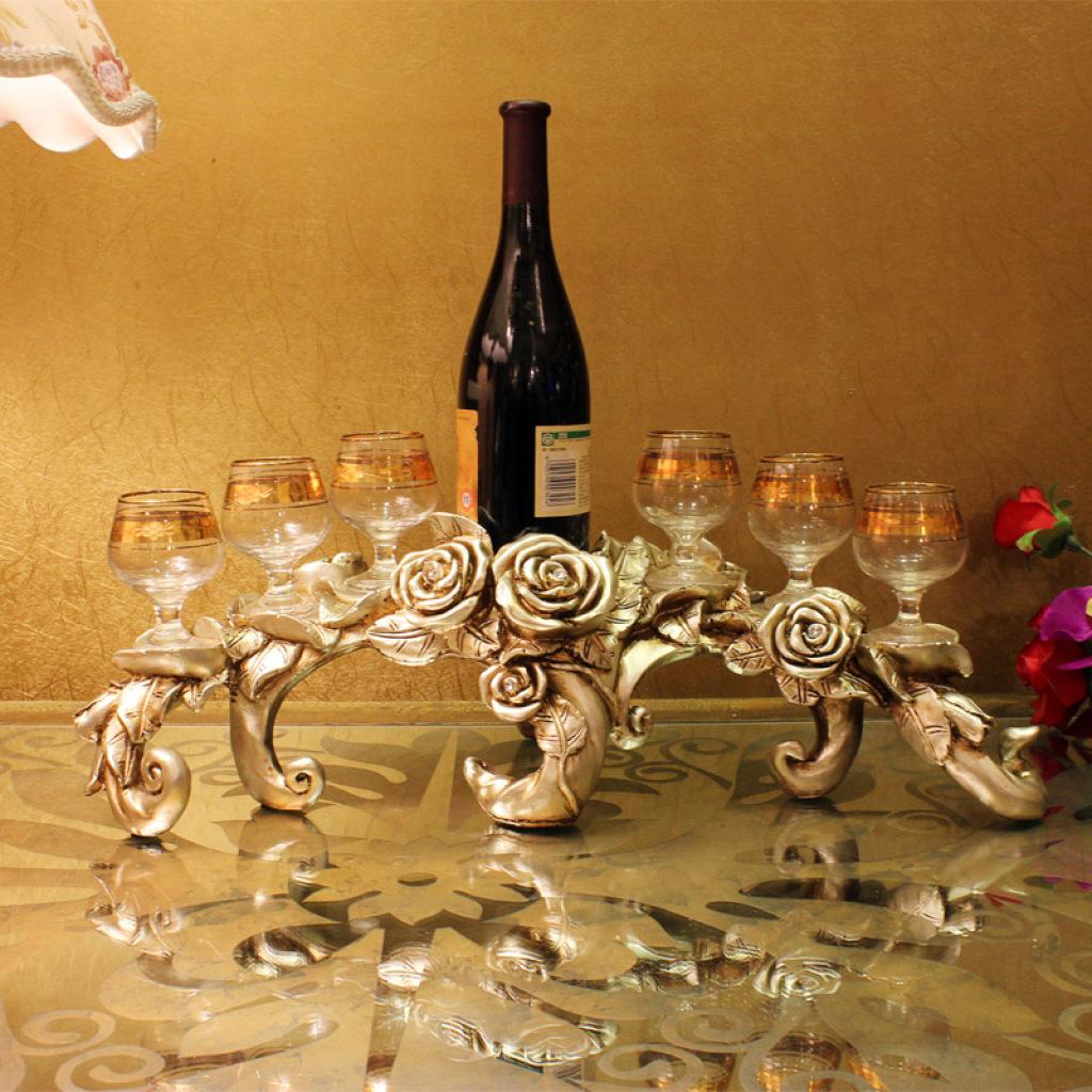 欧式创意家居装饰摆件玫瑰花红酒架酒杯架