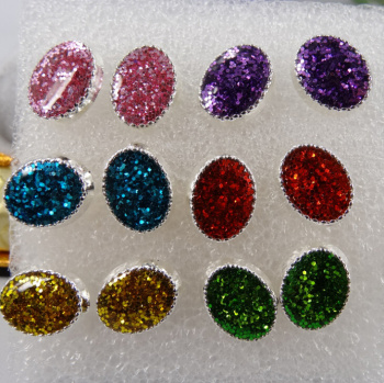 Factory Outlet pin earring wholesale glitter plastic hypoallergenic adhesive drops of oil of Korea and earrings