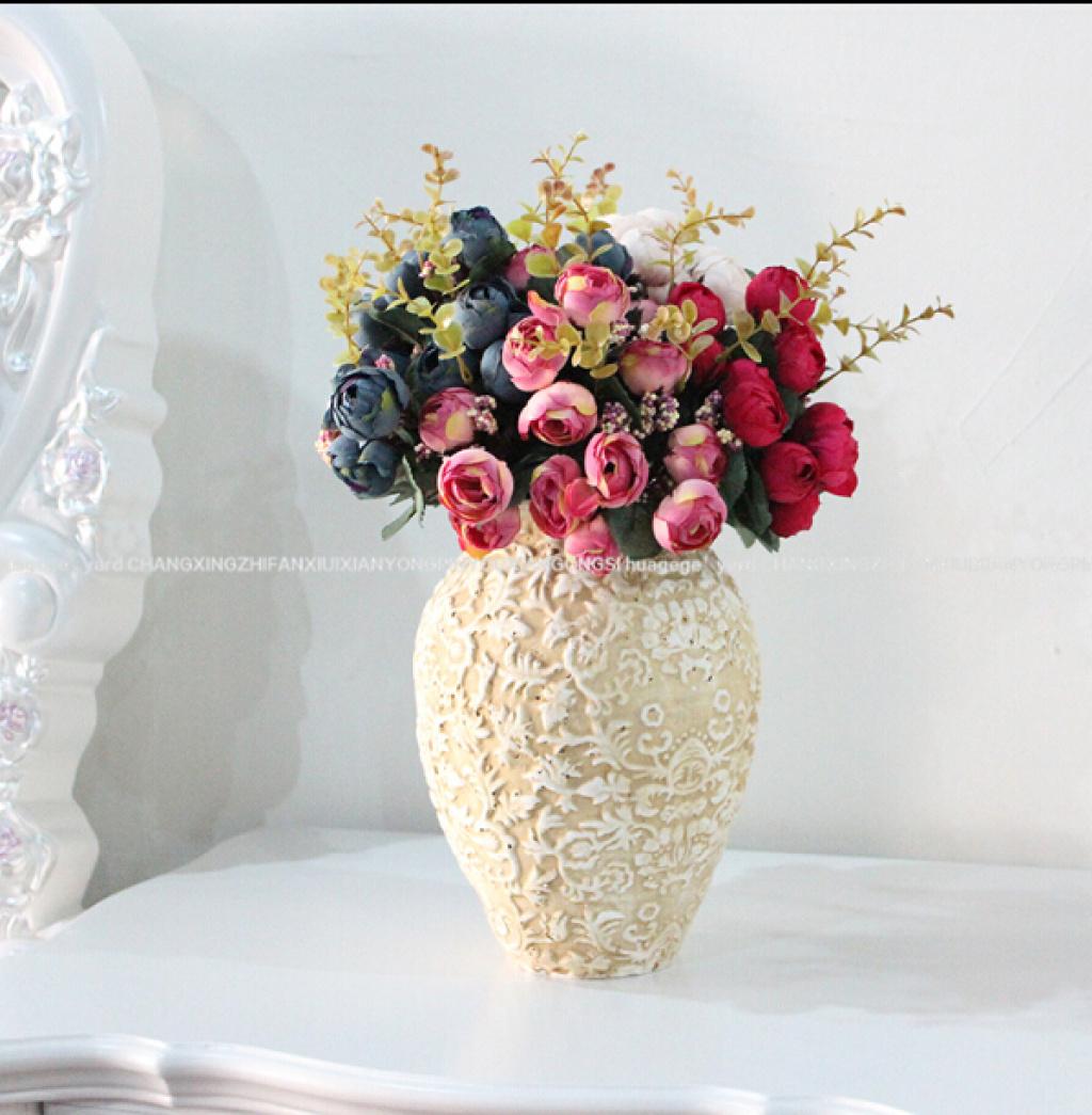 欧式罗马风格石粉花盆高端绢花花艺假花装饰品