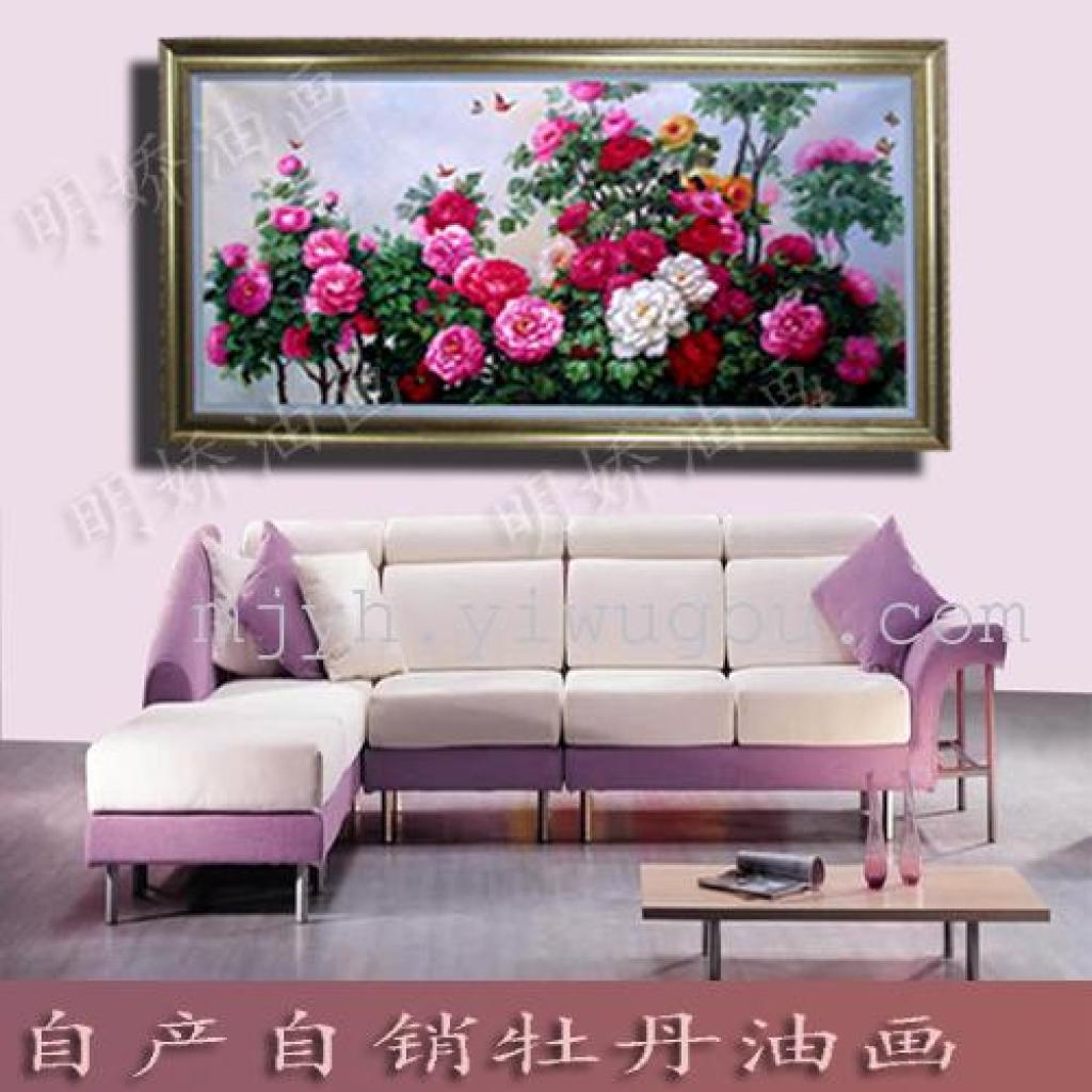 欧式客厅相框装饰画高档纯手绘牡丹油画