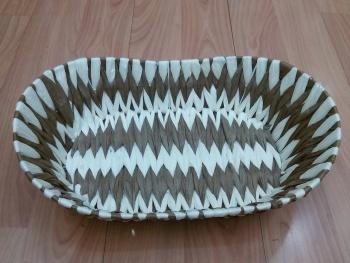 纯手工编织纸条面包筐以及收纳篮
