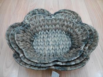 纯天然胡草手工编织六朵花瓣深咖色面包筐