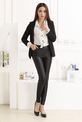Number 2782 thickened not cashmere warm pants women's Pu leather leather pants leggings