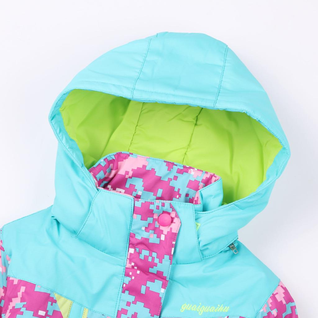 冬款儿童迷彩冲锋衣女童加厚冬装滑雪服外套