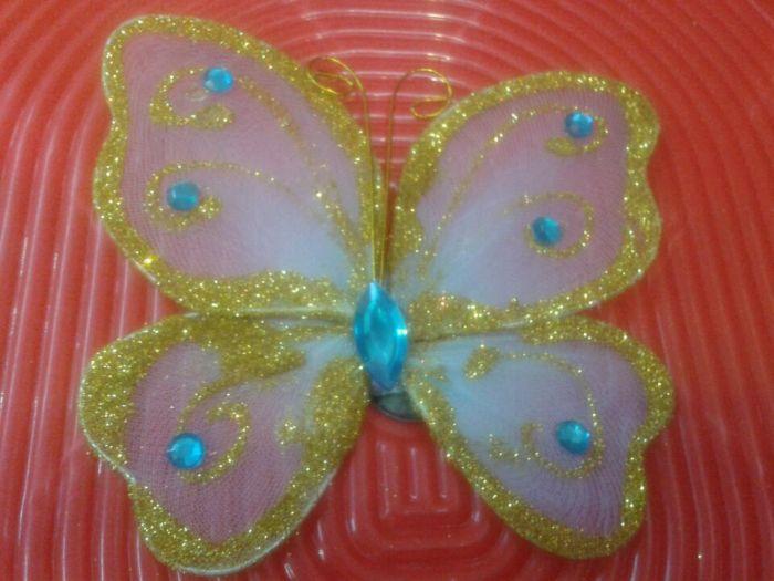 丝网小蝴蝶 冰箱贴 纯手工制作 颜色可定做