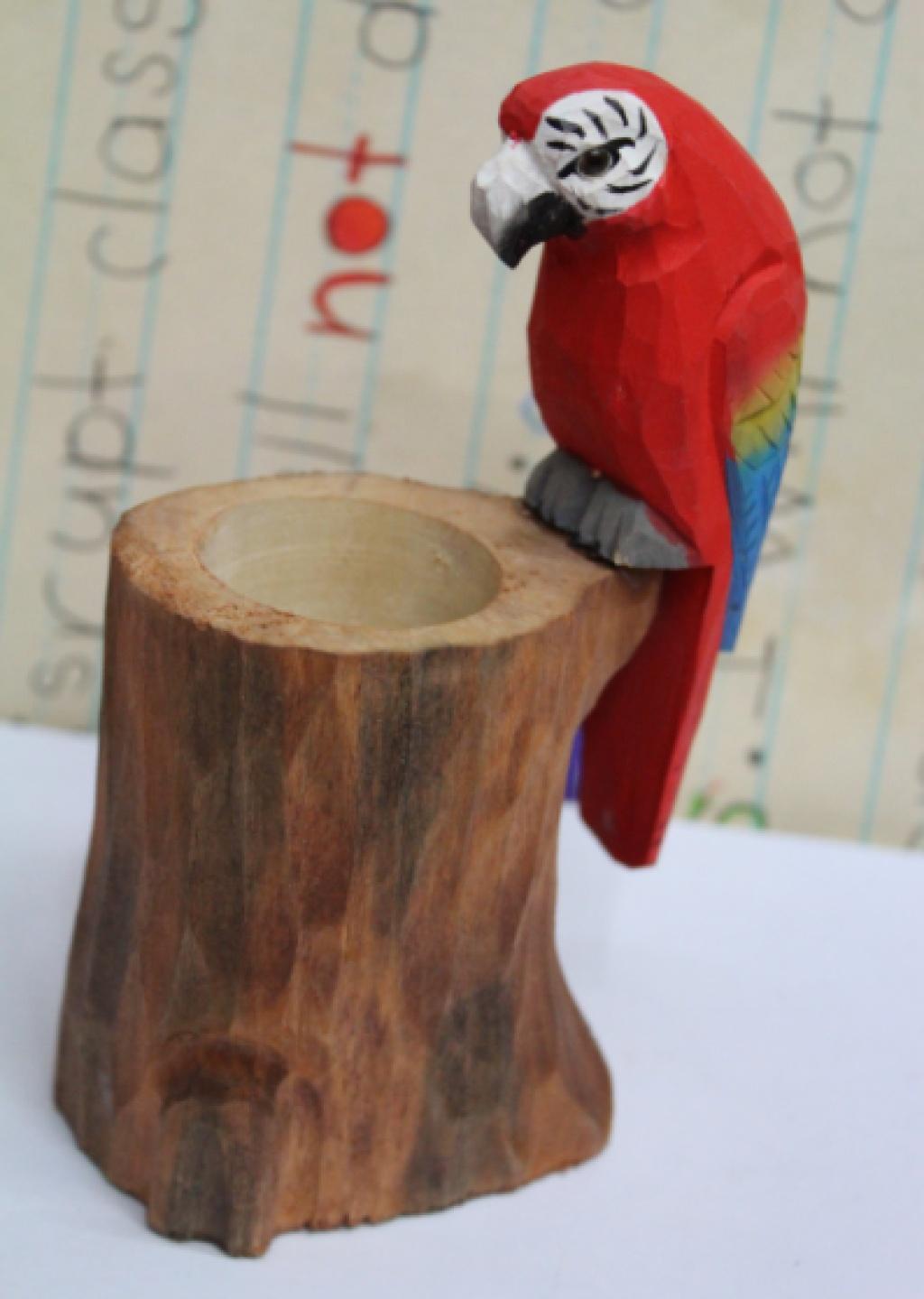 卡通工艺动物笔筒 装饰摆设笔筒 手工雕刻木头笔筒 小鸟