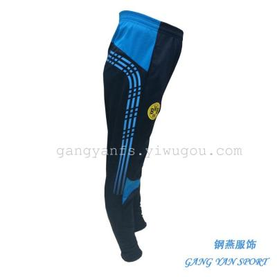 Sports football training pants casual pants feet pants tight colour matching knitted fabric trousers