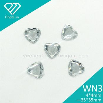 WN3 Heart Shape Flat Back acrylic stone apparal accessories jewelry crafts