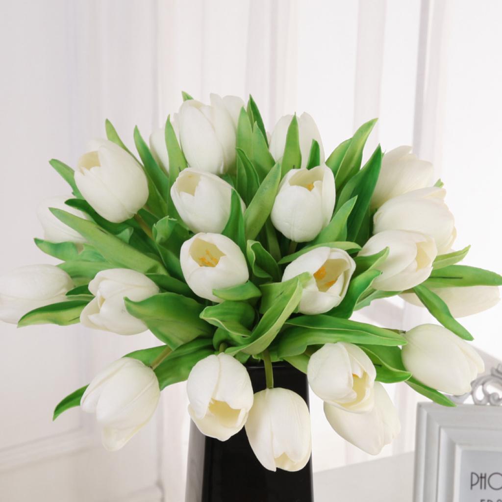Supply European top grade artificial flowers wholesale PU head Tulip Taobao b