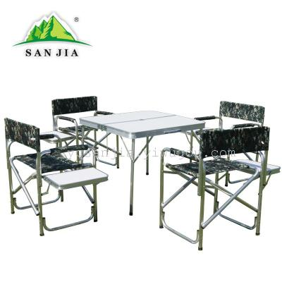 Certified SANJIA outdoor camping products aluminum alloy foldable tables and chairs
