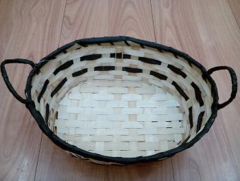 竹篮竹编 植物编织工艺品 椭圆形竹篮子 手工艺品货号6191