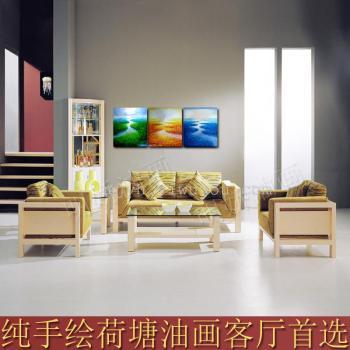 【巨便宜】客厅相框装饰画纯手绘荷塘风景油画