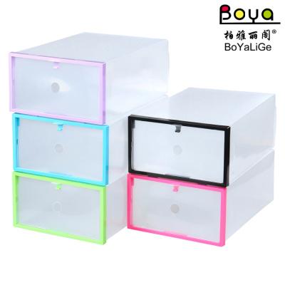 Color frame wrapped plastic drawer type shoe box PP plastic transparent shoebox multifunctional storage