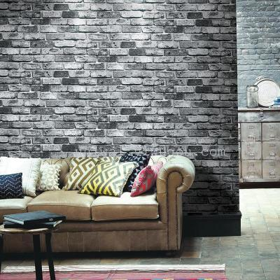 Modern Chinese-patterned wallpaper 3D antique brick brick pattern wallpaper restaurant retro bar red brick grey