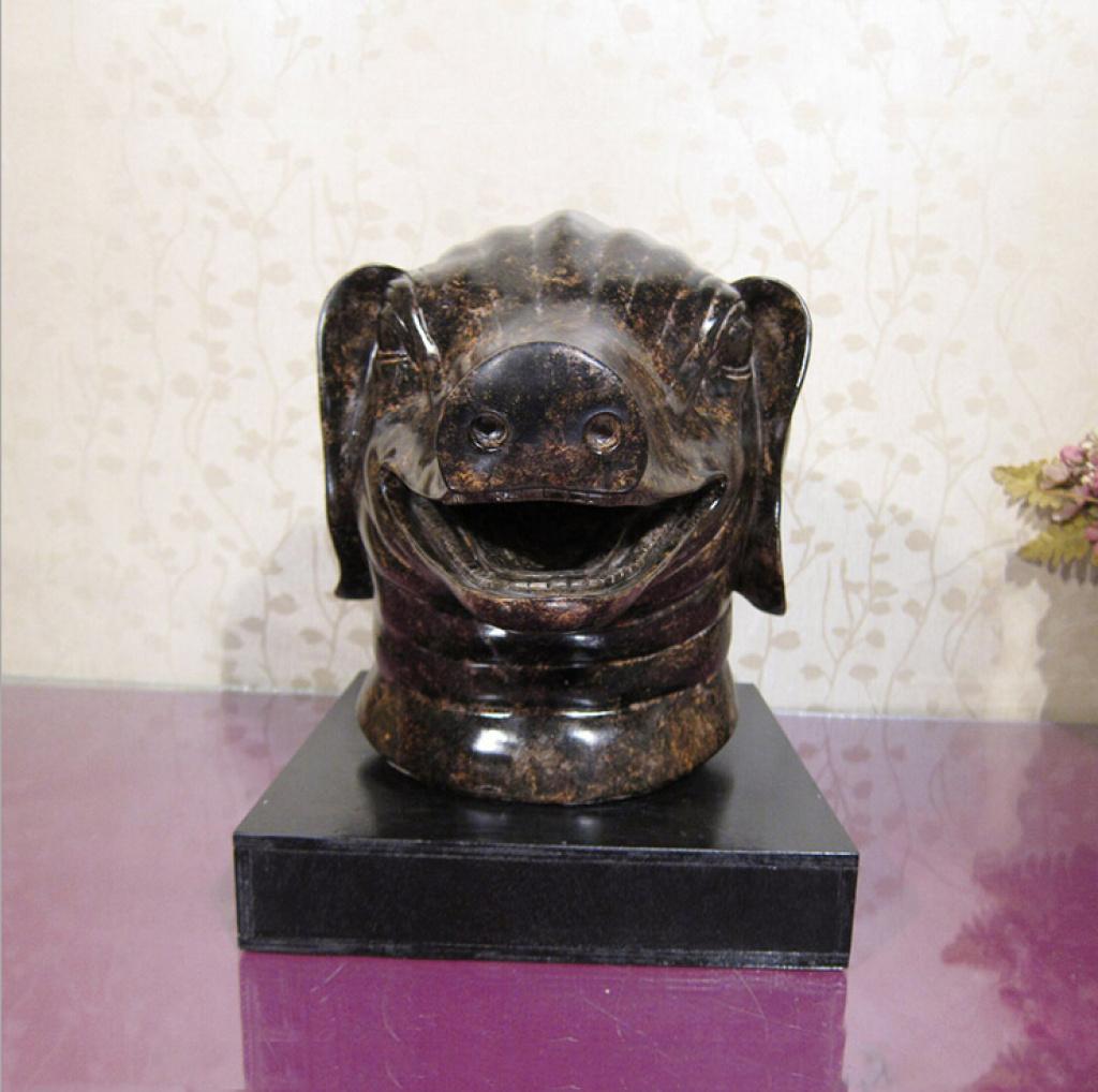 创意十二生肖猪头摆件 树脂工艺品 家居酒店kvt客厅玄关摆设