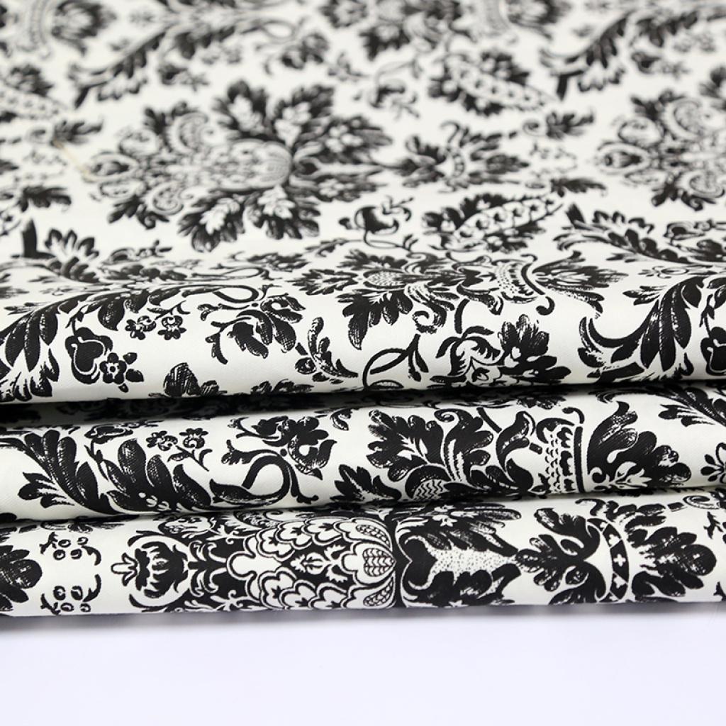 黑白欧式花纹斜纹印花布批发窗帘布布料服装面料