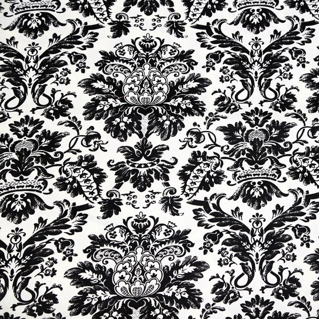 经典黑白欧式花纹斜纹印花布批发窗帘布手工diy布料