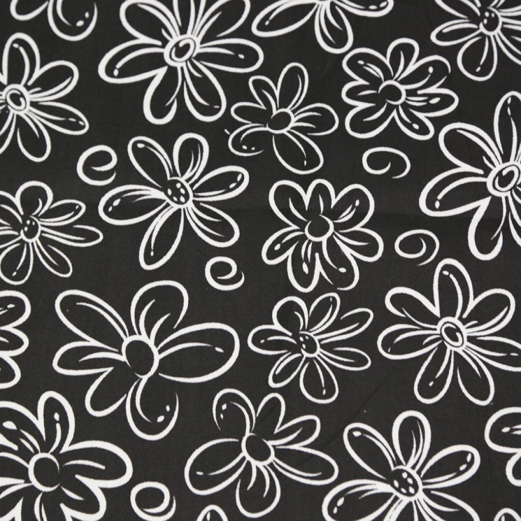 手工布艺床单抱枕箱包面料黑白花纹斜纹印花布料可