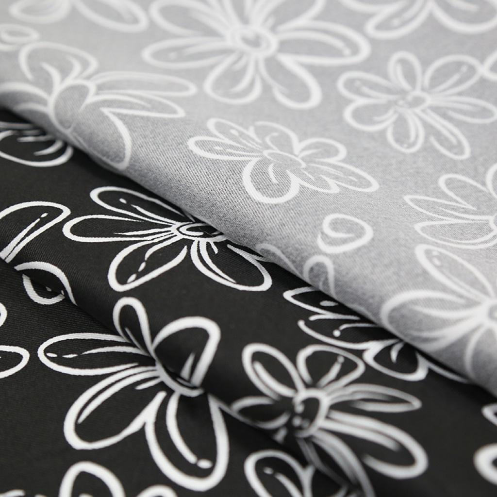 手工布艺床单抱枕箱包面料黑白花纹斜纹印花布料可定做