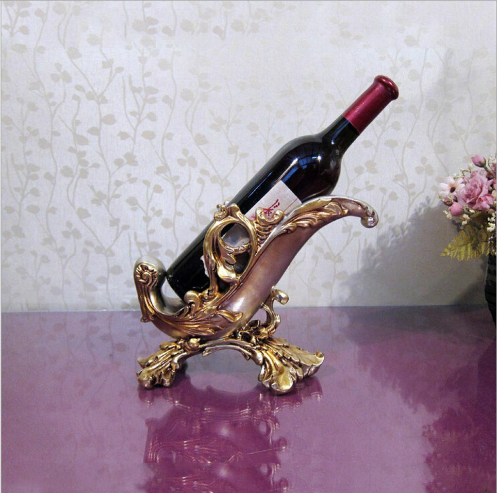 欧式创意红酒架奢华家居饰品树脂装饰摆件