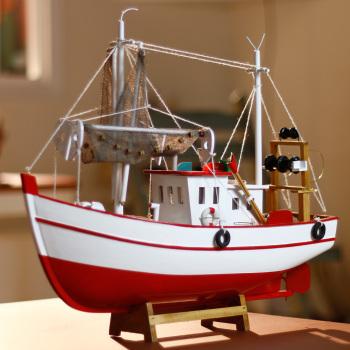 摆件 小木船模型