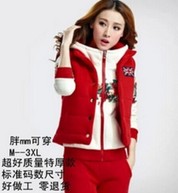 Add flocking thick sweater three-set women's autumn/winter Korean yards long sleeve casual coat sportswear
