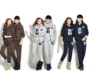 Korean version of male and female three piece sweater sets and cotton velvet padded sportswear lovers sport suits
