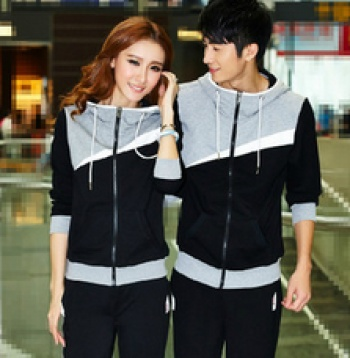 Korean lovers thicken sportswear suits colour matching suits for men and women clothing