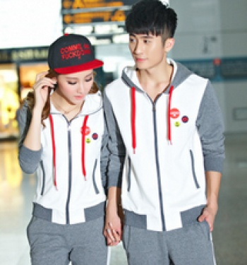 Lovers sport suits women and men Wei length sleeve Cardigan hooded sportswear and leisure clothing