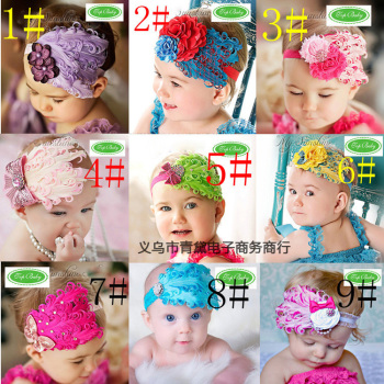 27 exporting  flower child  feather tiara hair accessories baby hair with child