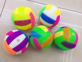 Hot sale wholesale TPR volleyball Flash a whistle sound volleyball bouncing ball glow toys