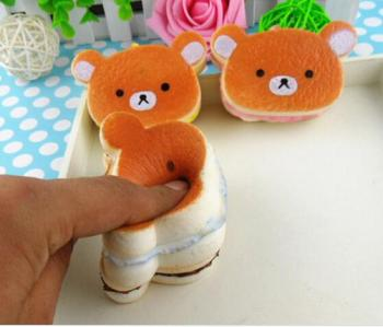 Simulation PU5CM easily bear Burger mobile phone pendant rope bag hanging toys for children