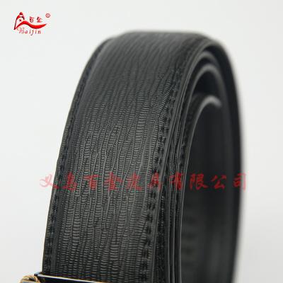 Timed up to half open men's automatic black leather belt buckle plain leather business casual Joker belt