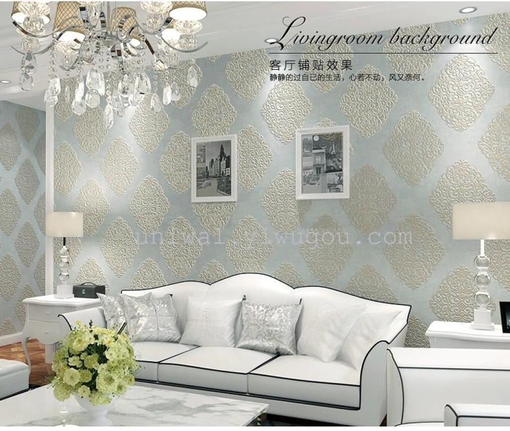 蚕丝 无纺布 欧式大马士革 客厅电视背景墙纸 卧室 壁纸