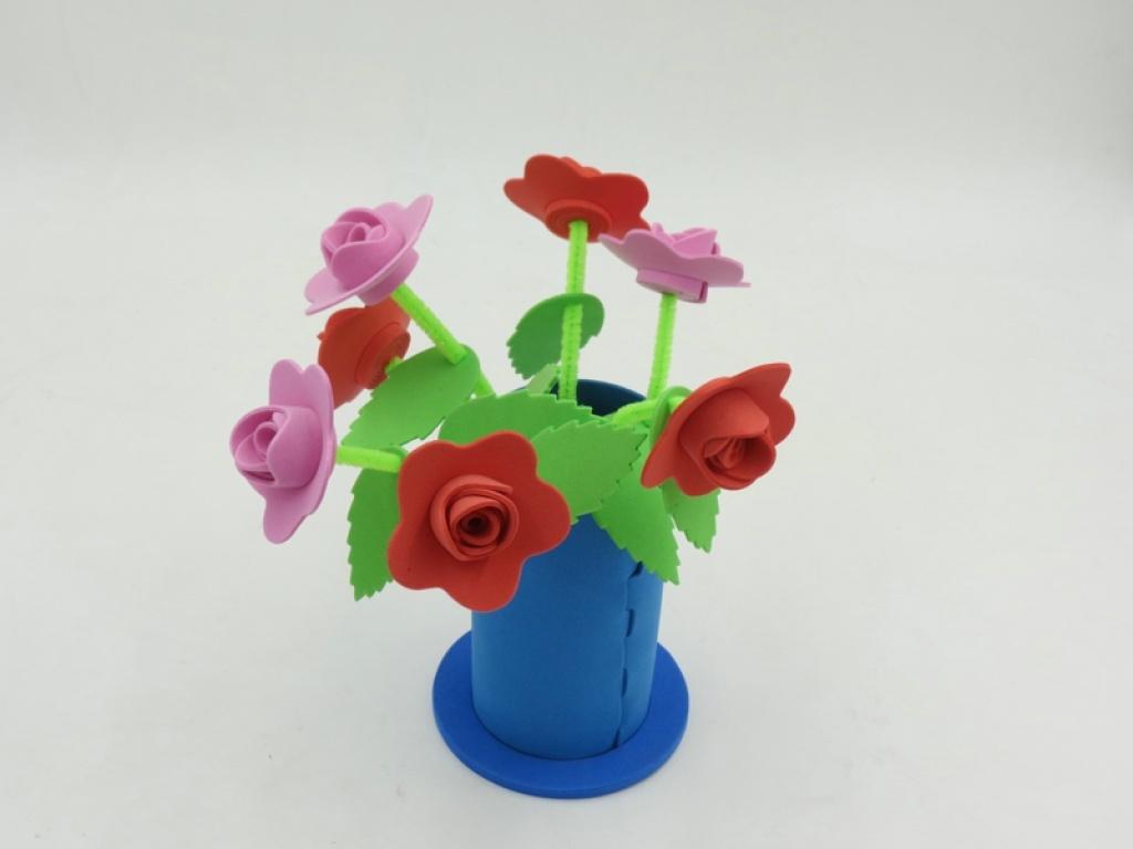 厂家直销幼儿园手工材料diy礼物eva立体玫瑰花 手工花朵混
