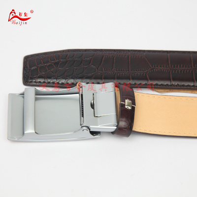 Fushida half inch crocodile leather automatic leather belt buckle edentulous male