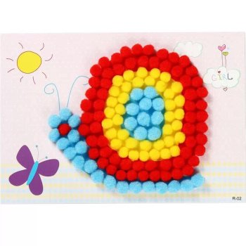 Factory direct pompon painting DIY manual stickers hair ball glue painting with children's educational toys