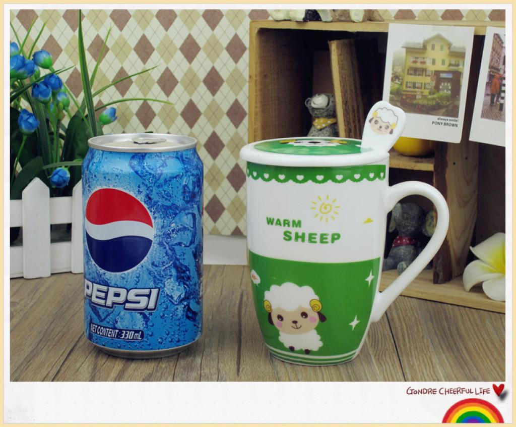 巴克星辰 创意卡通陶瓷杯 个性卡通绵羊马克杯 日用百货水杯子
