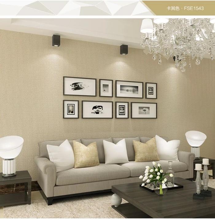 亚麻素色纯色深色书房电视背景墙