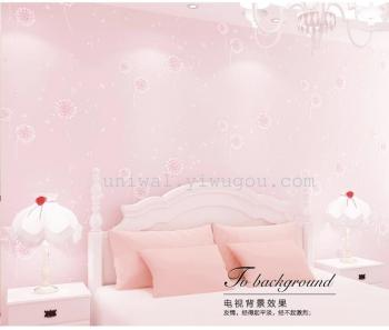 Children's room Dandelion Girl Wallpaper Non-woven Pastoral Living Room Bedroom Warm and romantic pink wallpaper