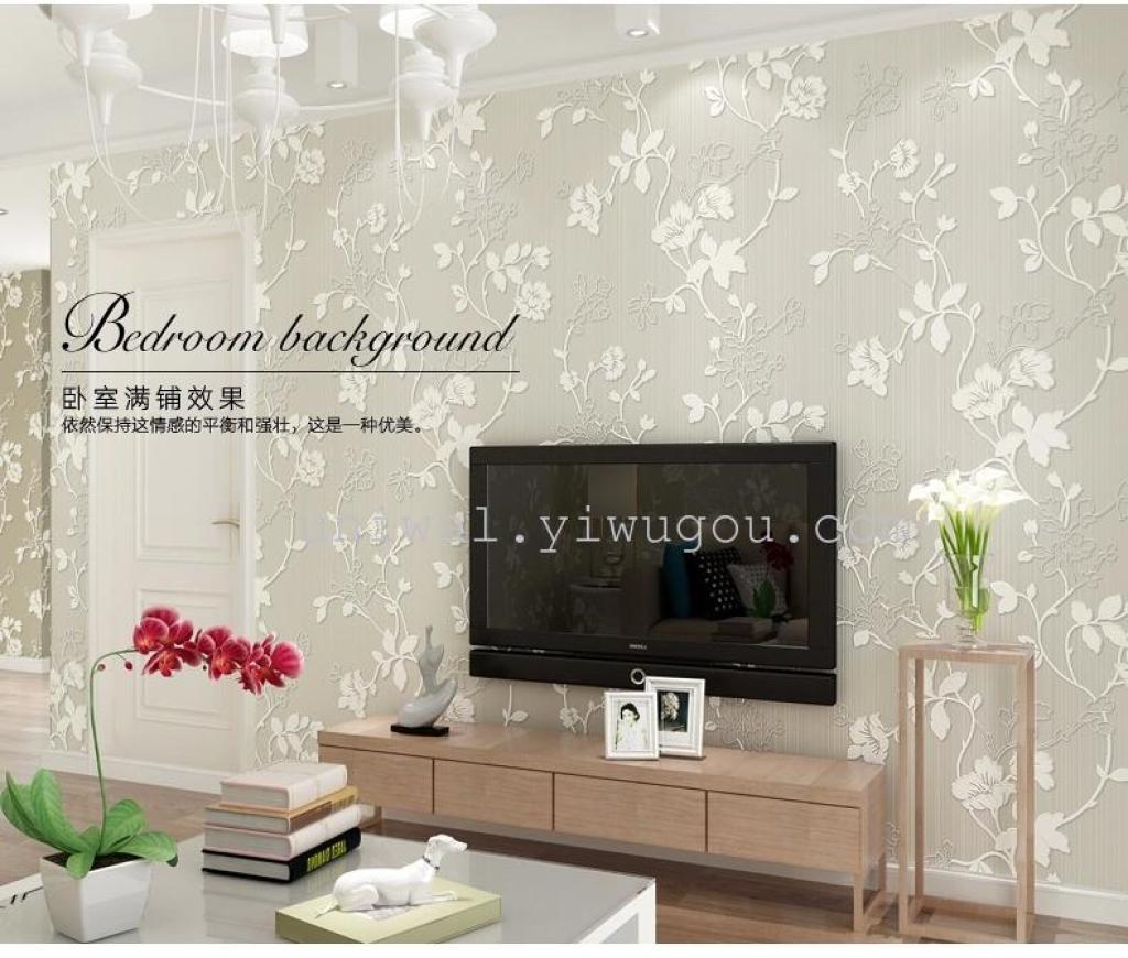 欧式简约无纺布壁纸3d温馨卧室客厅电视背景墙田园