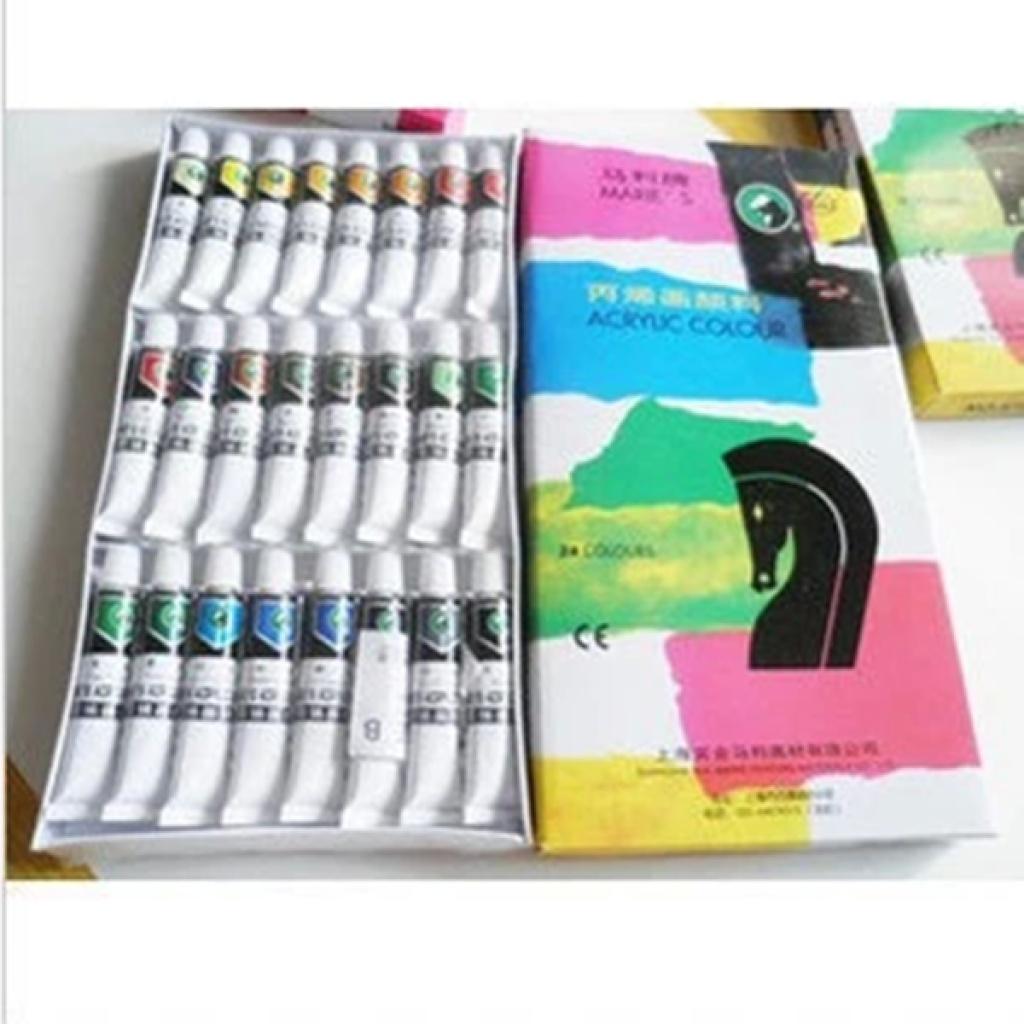 马利丙烯颜料 24色丙烯画颜料 手绘衣服墙体颜料 美甲颜料 824