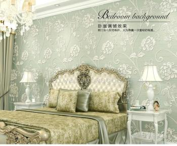 The new type of European non-woven fabric stereo 5D wall wallpaper bedroom room cozy TV wallpaper wallpaper