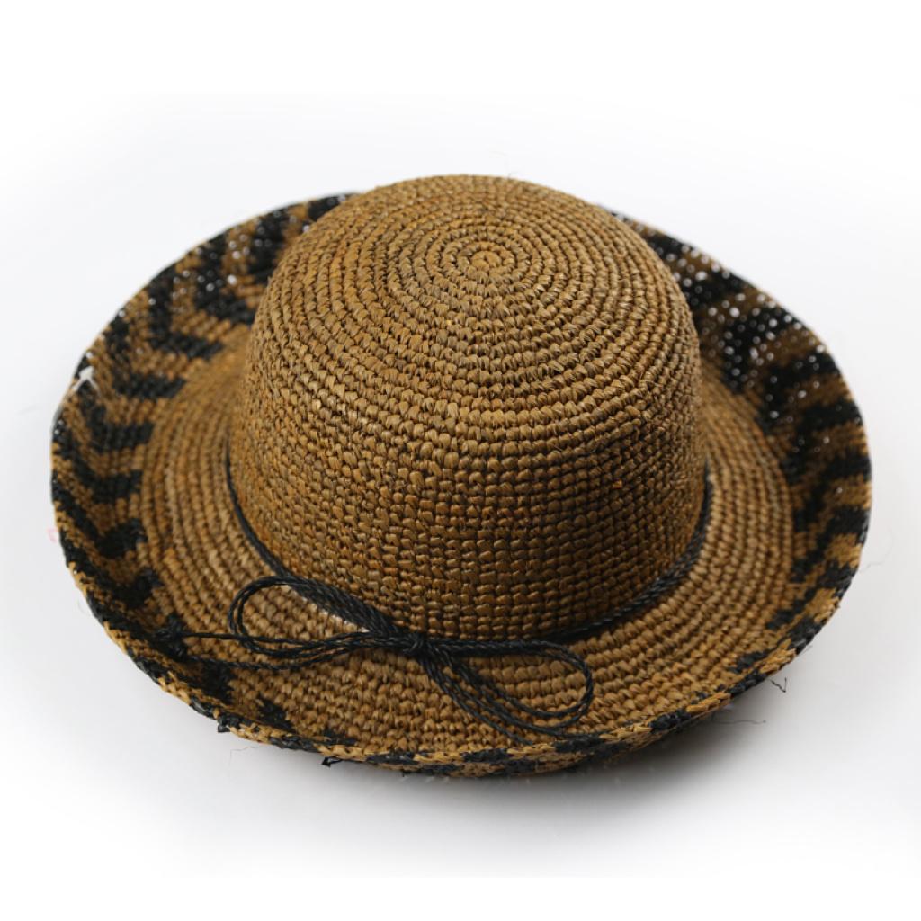 钩针编织拉菲草帽 翻边英伦礼帽 遮阳帽子 a118