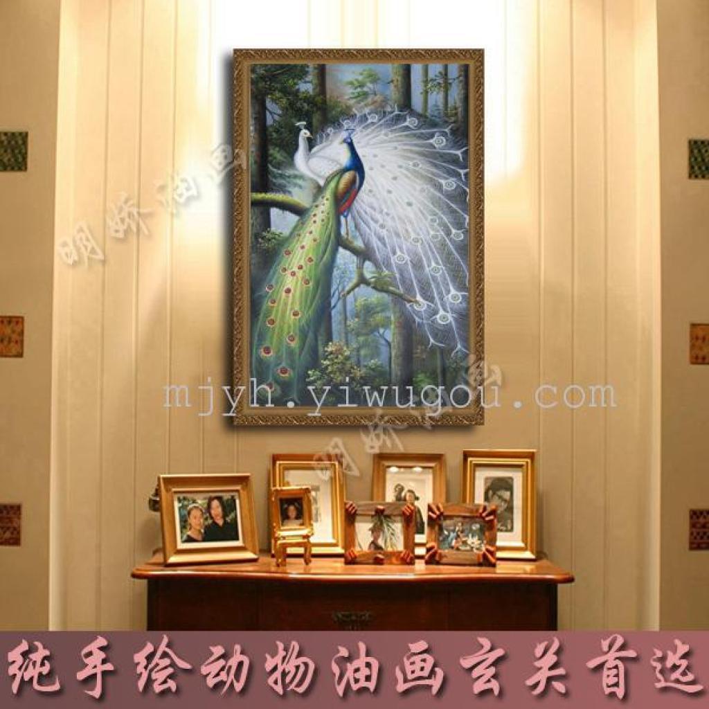 2015年爆款玄关装饰画竖幅客厅欧式油画芯纯手绘孔雀